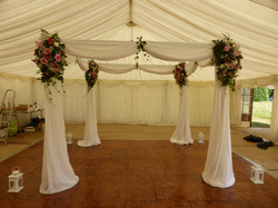Mandap decorated with swags