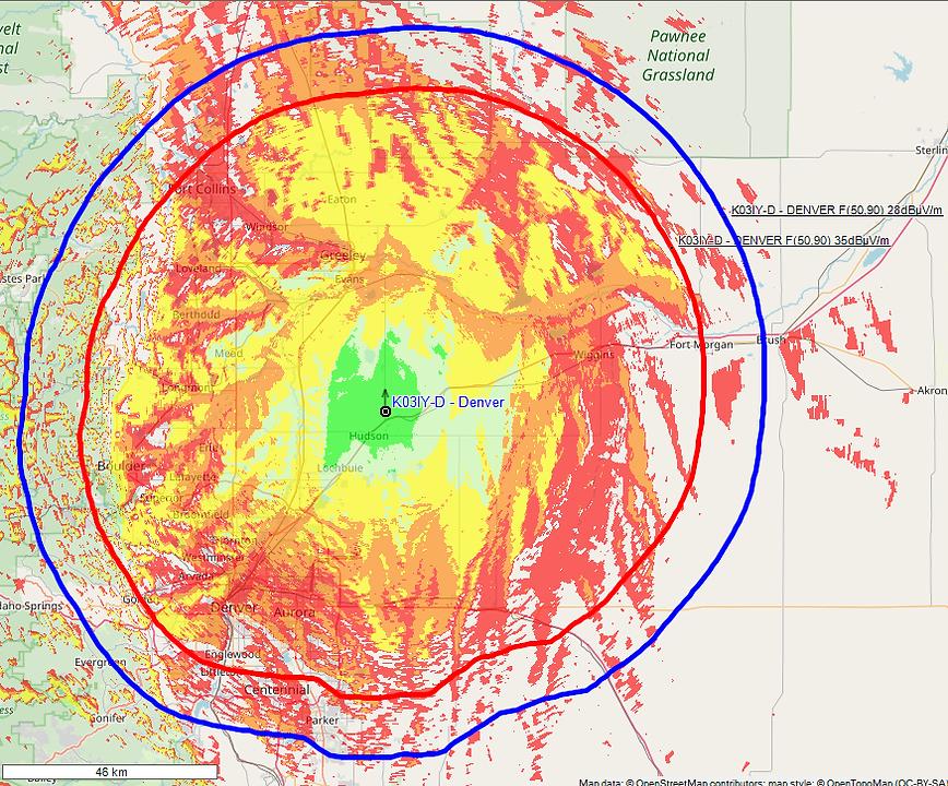 Radioplanner FCC contours + Longley-Rice