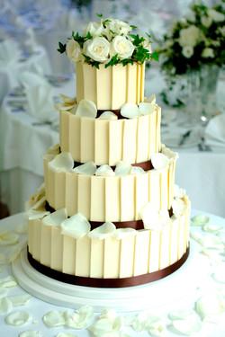 Petals scattered on cake