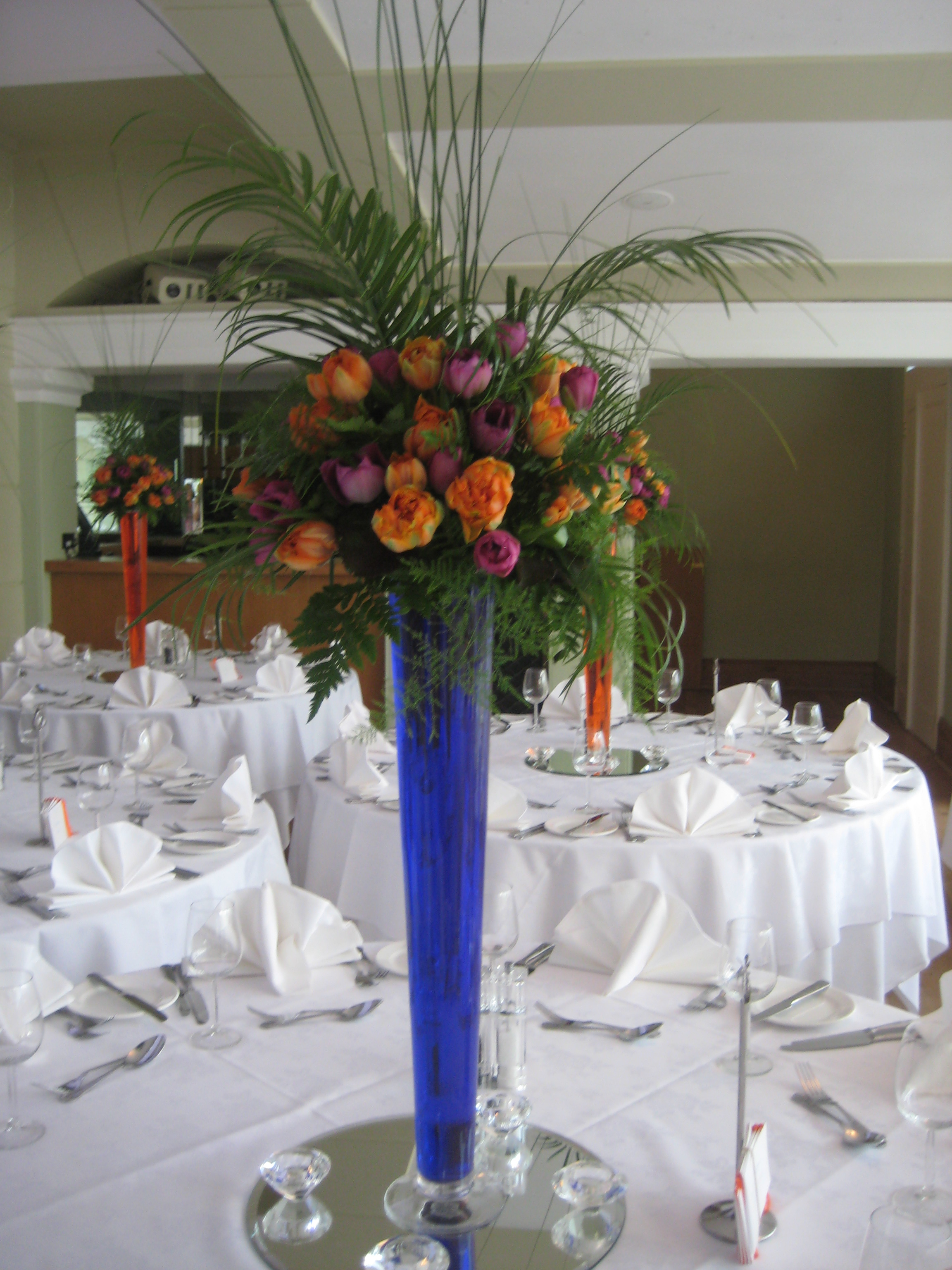 Trumpet Vase Table Arrangements