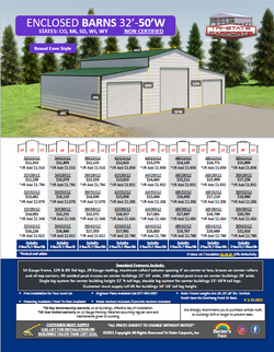 Enclosed Barns 32'-50'W CO,MI Non Certif