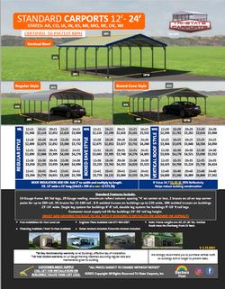 Standard Carports 12'-24'W 50Psf 115 Win