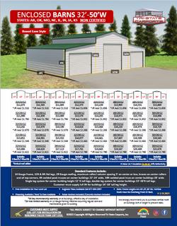 Enclosed Barns 32'-50'W AR,OK Non Cerifi