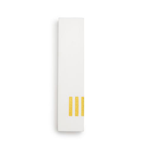 מזוזה לבנה רחבה | ש' צהובה בצד