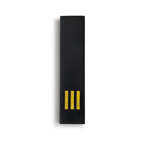 מזוזה שחורה רחבה | ש' צהובה במרכז