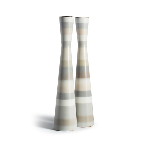 PAMOT - Gray and White Stripes - Corian Candle Holders