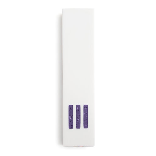 MEZUZAH | White Wide | (ש) Middle - Purple