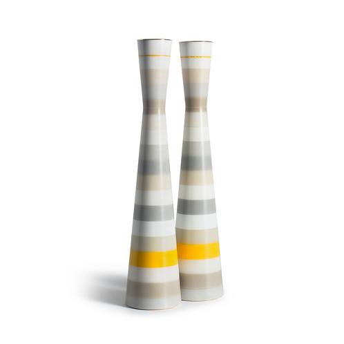 PAMOT - jaune, gris et blanc - Bougeoirs Corian