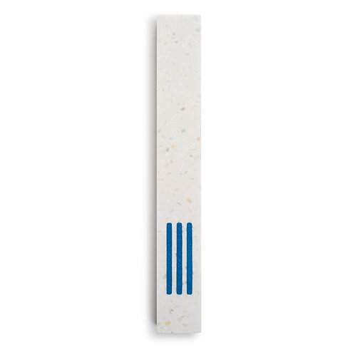 MEZUZAH   Large   White Terrazzo   (ש) Middle -Blue