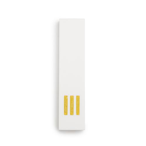 מזוזה לבנה רחבה | ש' צהובה במרכז