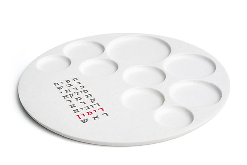 TISHREY – Rosh Hashanah Antarctica White Plate, Text- Gray & Red