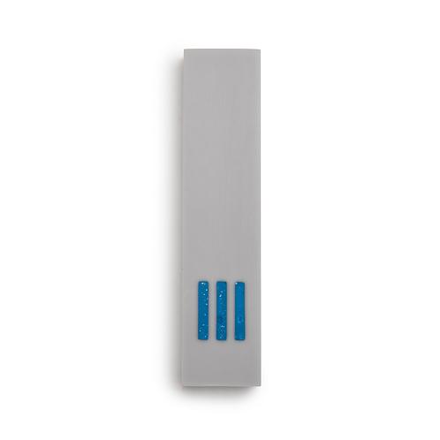 MEZUZAH | gris - large | (ש) centre - bleu
