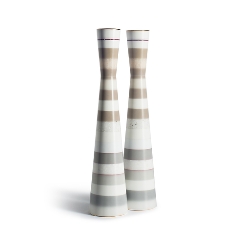 PAMOT - Marble and White Stripes - Corian Candle Holders