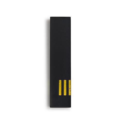 מזוזה שחורה רחבה | ש' צהובה בצד