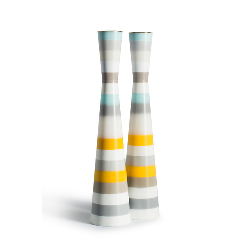 PAMOT - Yellow, Light Blue & White Stripes - Corian Candle Holders