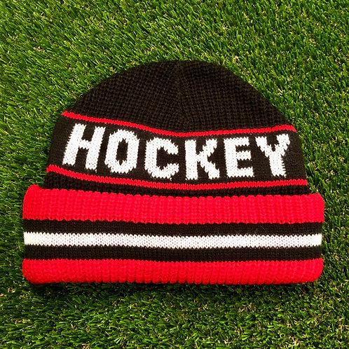 Hockey Big Beanie - Black/Red