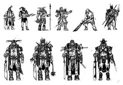 Character warrior sketches