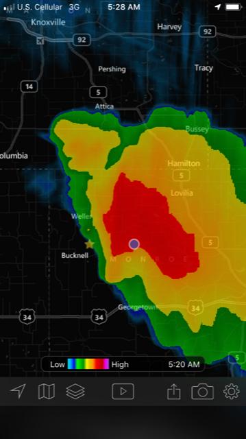 A screen shot from My Radar
