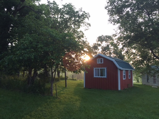 Red shed converted into a tiny house.