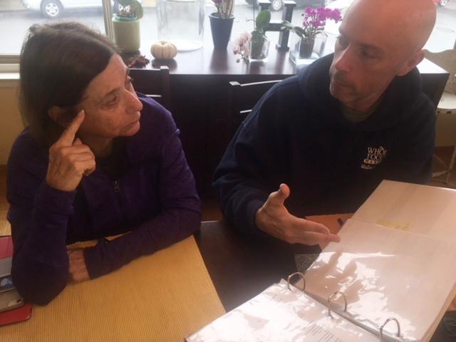 Mom and John talking shop.