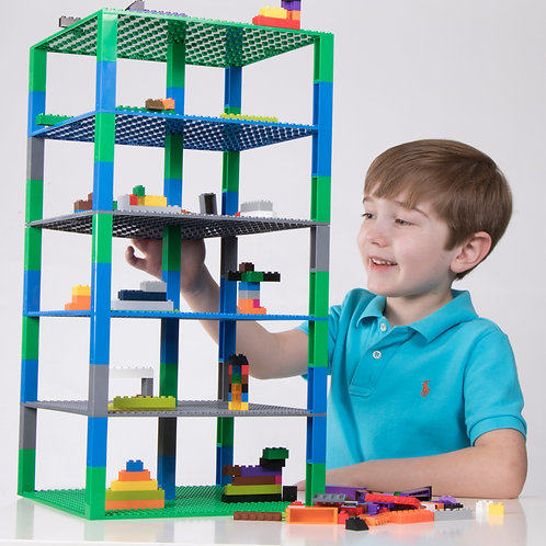 """Brik Tower 10"""" in green/gray/blue by Strictly Briks"""