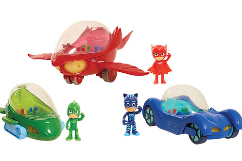 PJ Masks Deluxe Vehicles (Cat-Car, Gekko-Mobile and Owl Glider) by Just Play