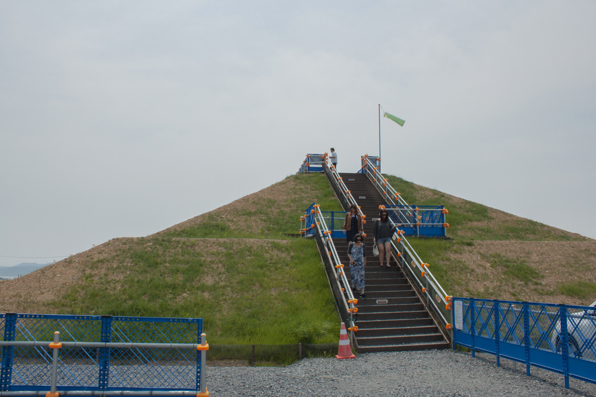 An artificial evacuation hill (on top of another, larger artificial hill) in the town of Minami-Sanriku.