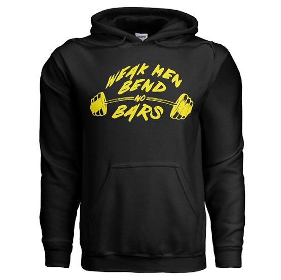 """MP's """"WEAK MEN BEND NO BARS"""" Hoodie - Black & Yellow"""
