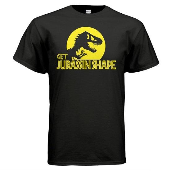 """GET JURASSIN SHAPE"" Tee - Black & Yellow"