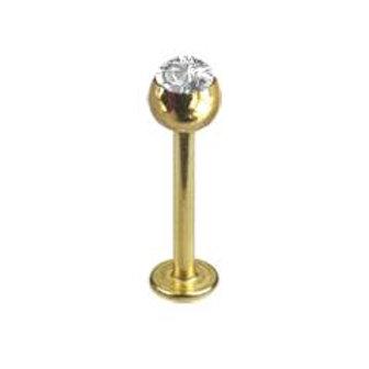 Guldbelagt 1,6 mm. gevind labret med krystal