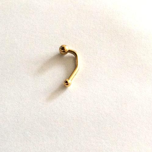 Guldbelagt Christina piercing barbell med krystal