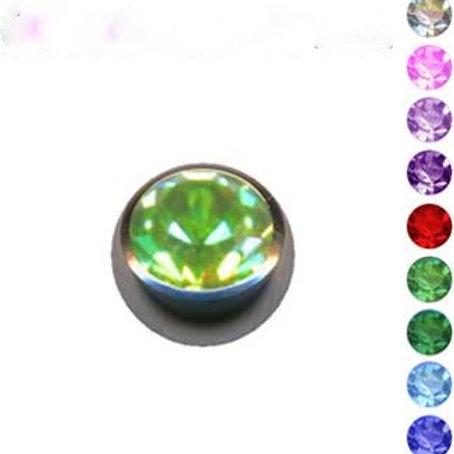 Kirugisk stål kugle1,2 mm. indvendig gevind med krystal,