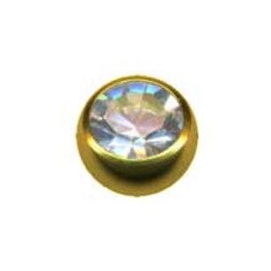 Guldbelagt kugle med krystal, indvendig gevind