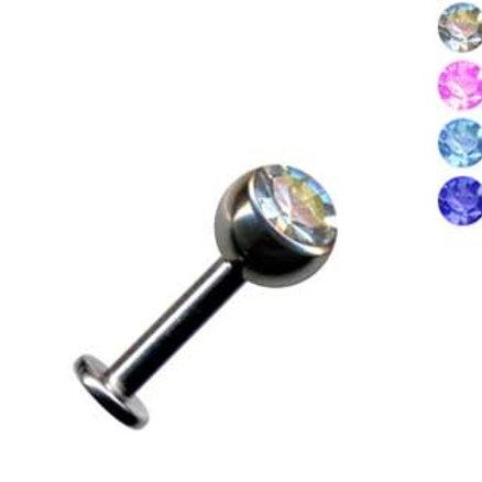 Titaniums labret med krystal 1,2 og 1,6 mm