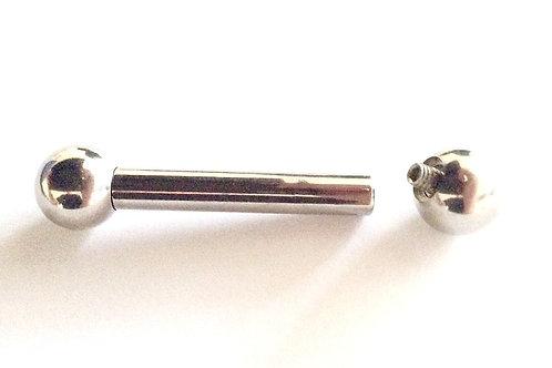 Kirugisk stål barbell 4 mm. Tykkelse. Internal threded