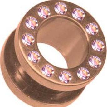 Rosengold Tunnel AB krystal 8 og 10 mm.