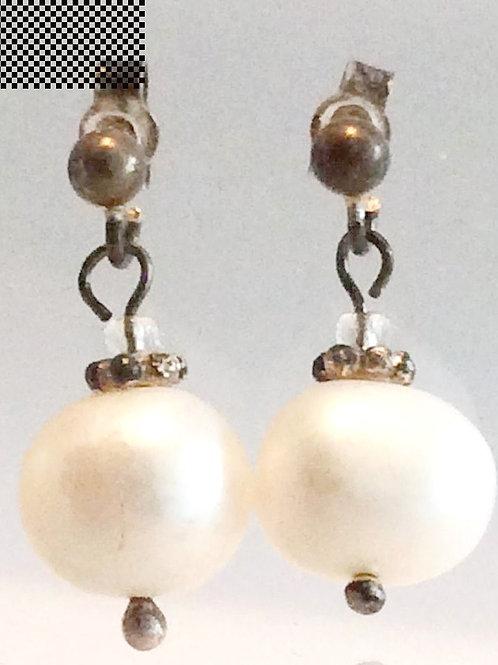 Ferskvands perle øresticks,925 ss. Par