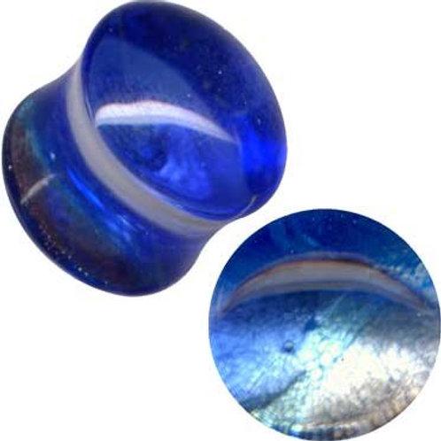 Plug, Glas, Blå ca.12 mm.