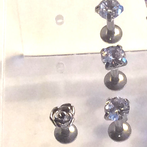 Internal Labret 1,6 Kirugisk stål, krystal eller rose