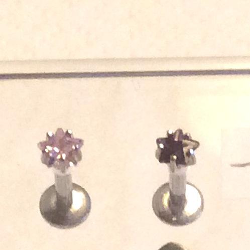 Kirugisk stål 1,6 Internal labret med krystal