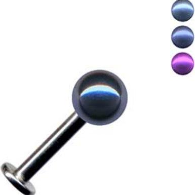 Titanium labret med Anodiseret kugle. 1,2 og 1,6 mm.gevind