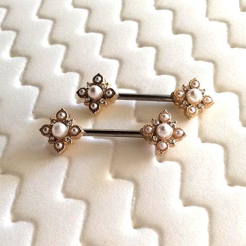Par, Bryst smykke med vintage Square flower ender