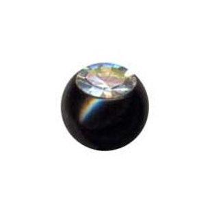 Blacksteel kugle med krystal, indvendig gevind