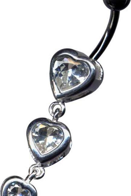 Sødt navlesmykke med 3 hjerter i sterling sølv vedhæng
