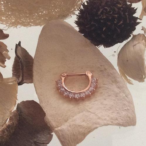 Septum Clicker, 1,2 mm.Rosengold, Hvide krystaller