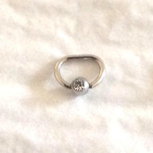 D ring, Titanium, med Krystal. 1,6 x 10 mm