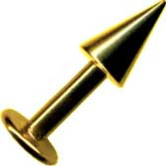 Guldbelagt 1,6 mm. gevind labret med cone