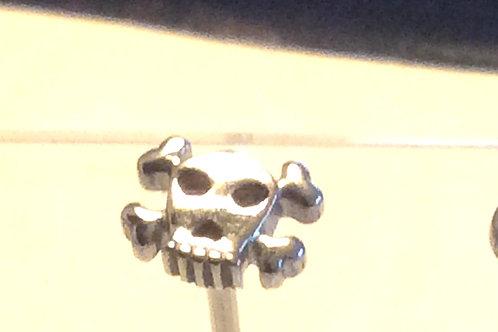 Skull barbell Kirugisk stål, top i Sterling sølv