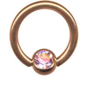 Rosengold BCR ring med  AB krystal  1,6 x 10 mm.