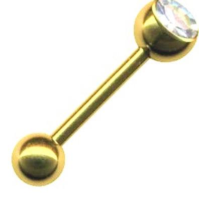 Zirkon titanium barbell med krystal, 1,6